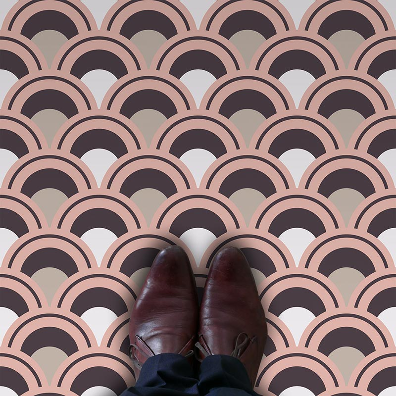 Arch fish scale pastel coloured printed vinyl flooring exclusive to forthefloorandmore.com