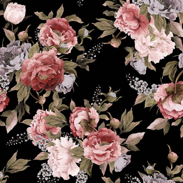 Freya dark floral pattern design. Moody and deep with colours to match, Freya simply adds drama as a made to measure wall mural, kitchen glass splashback and feature tile