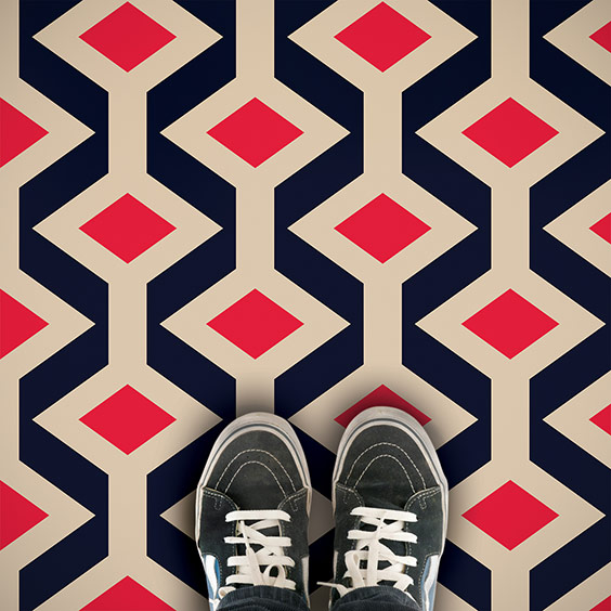 Colourful Fenchurch printed vinyl flooring from forthefloorandmore.com