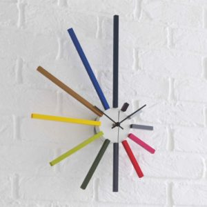 SPECTRUM Multi-Coloured Spoke Wall Clock from Habitat and matched with forthefloorandmore.com