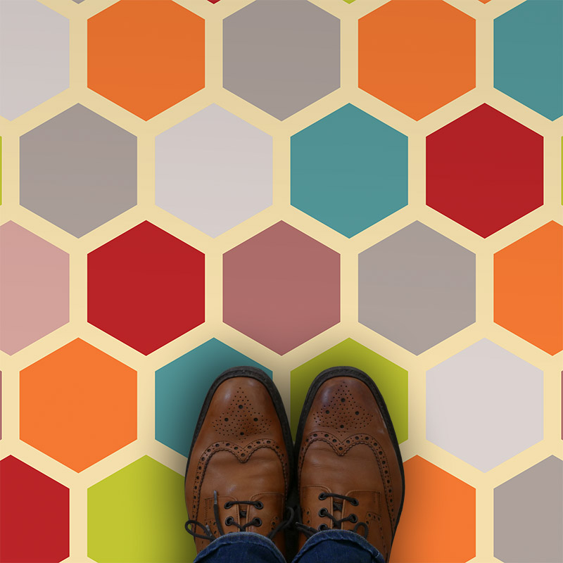 Dials colourful printed vinyl flooring, sophisticated and full of style. Exclusive to forthefloorandmore.com