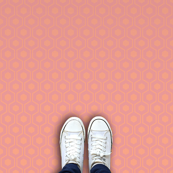 Pink Pastel coloured printed geometric vinyl flooring exclusive to forthefloorandmore.com
