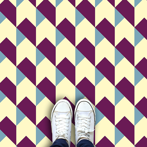 Purple coloured houndstooth vinyl flooring pattern design from forthefloorandmore.com