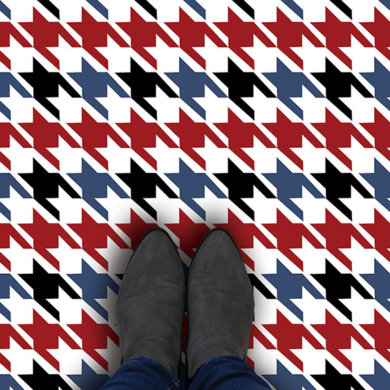 Red, blue and black houndstooth vinyl flooring pattern design from forthefloorandmore.com