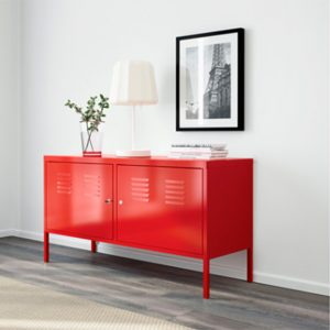 Ikea PS Red cabinet perfectly matching the pattern vinyl flooring at For the Floor & More