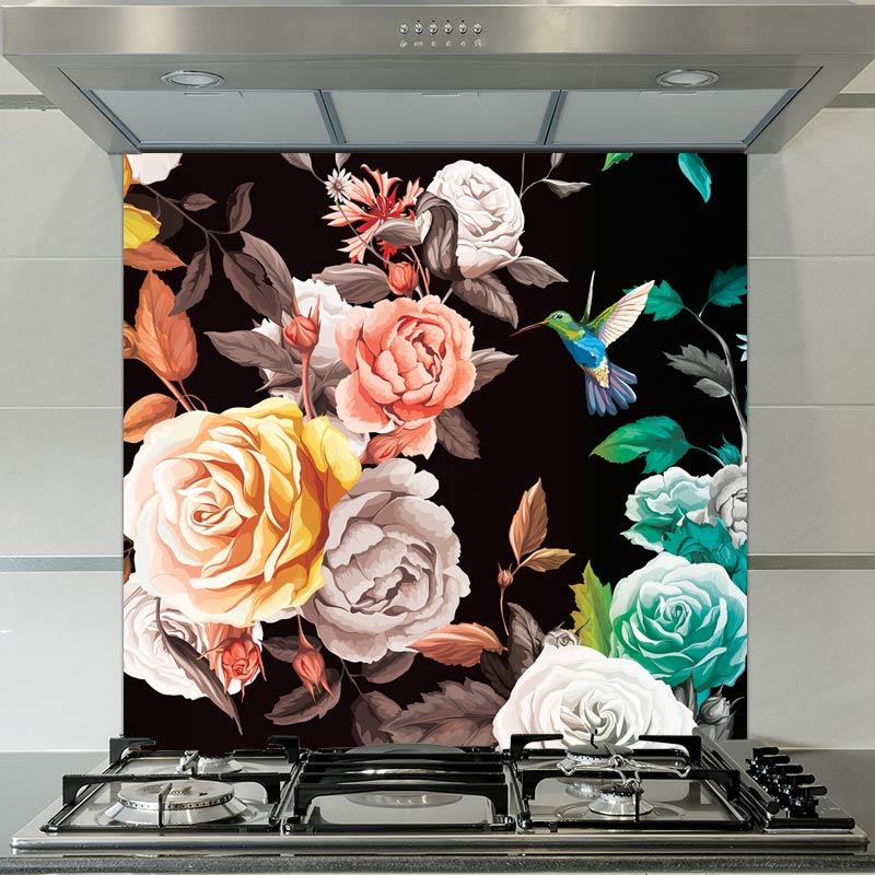 Image of Janna floral patterned glass splashback available from forthefloorandmore.com