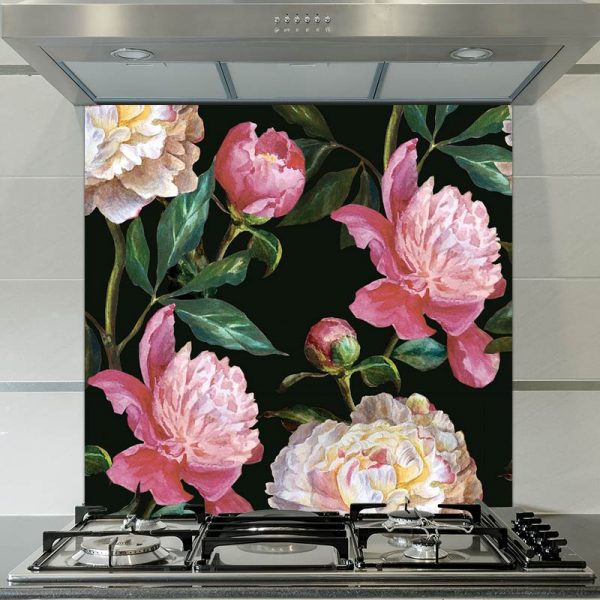 Image of Kelde floral patterned glass splashback available from forthefloorandmore.com