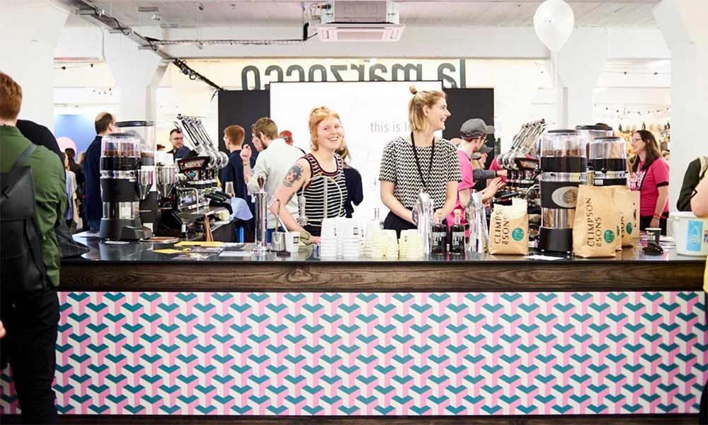 Images from London Coffee Festival 2018 where custom printed flooring by forthefloorandmore.com was used in the bar area