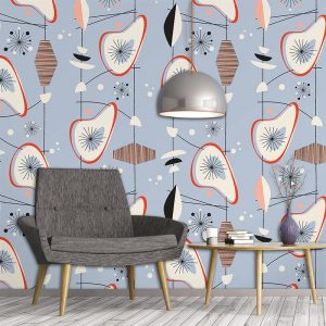 Osten pattern as a bespoke wallpaper inspired by Lucienne Day and part of our new SS17 collections