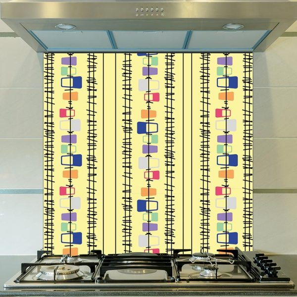 Lineal pattern glass splashback inspired by Lucienne Day and part of our new SS17 collections