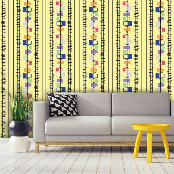 Lineal pattern bespoke wallpaper inspired by Lucienne Day and part of our new SS17 collections