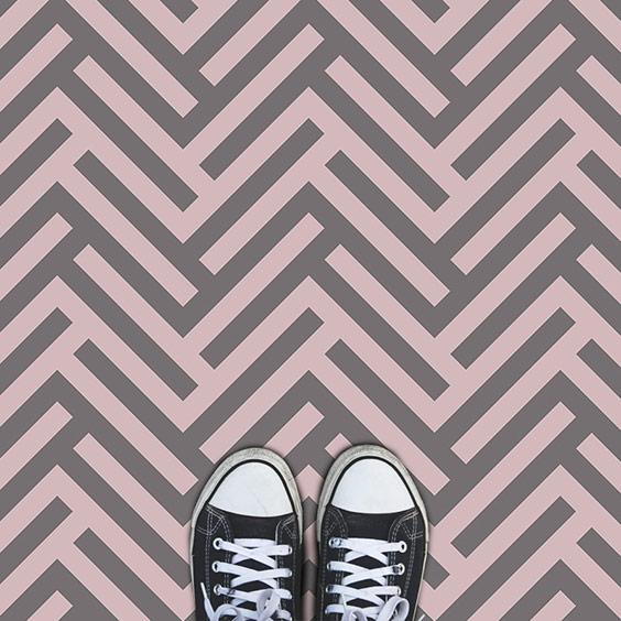 Pink and Grey Herringbone Parquet style vinyl flooring from forthefloorandmore.com