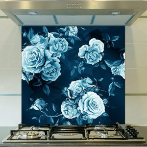Petal in blue floral pattern large format Feature Tile, bespoke wallpaper or kitchen splashback from forthefloorandmore.com