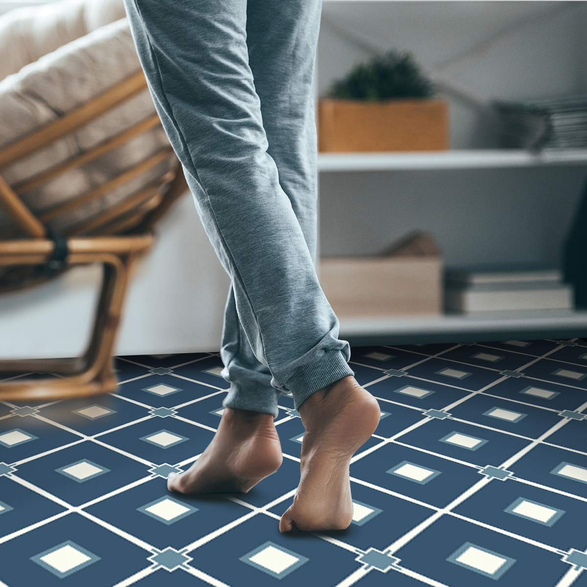 Image of Venetian blue geometric vinyl flooring from forthefloorandmore.com
