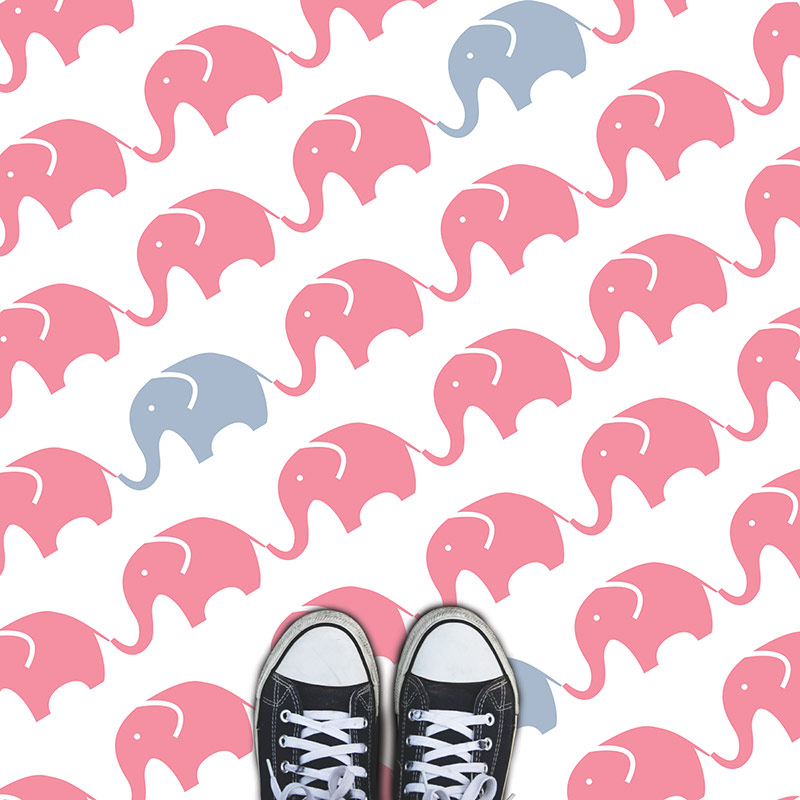 Image of a funky elephant Nursery and Pre-school fun printed vinyl flooring from forthefloorandmore.com