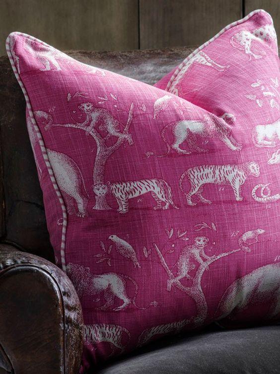 Andrew Martin Designer Cushion in Kingdom Paradise with Savannah Paradise Piping