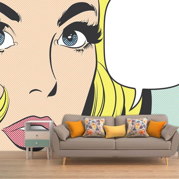 Pop art girl 2 - inspired by pop art and available as bespoke wallpapers and custom glass splashbacks