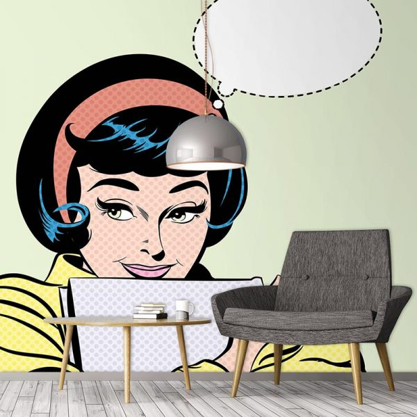Pop art girl 3 wallpaper mural - inspired by pop art and available as bespoke wallpapers and custom glass splashbacks