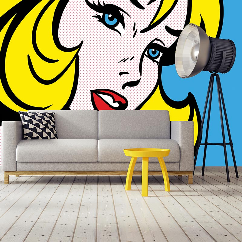 Pop art girl 4 wallpaper mural - inspired by pop art and available as bespoke wallpapers and custom glass splashbacks from forthefloorandmore.com