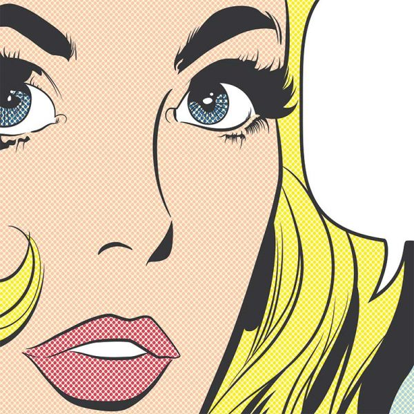 Pop art girl 2 - inspired by pop art and available as bespoke wallpapers and custom glass splashbacks from forthefloorandmore.com
