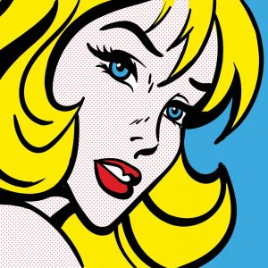 Pop art girl 4 - inspired by pop art and available as bespoke wallpapers and custom glass splashbacks