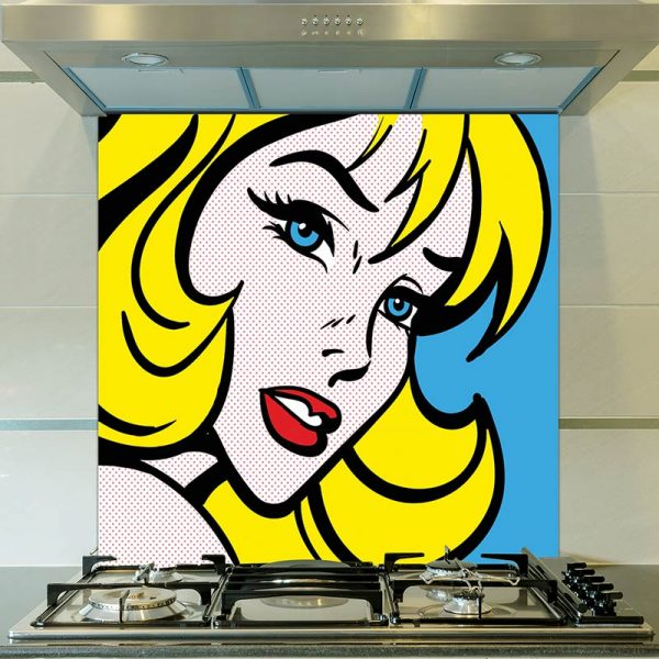 Pop art girl 4 printed glass splashback - inspired by pop art and available as bespoke wallpapers and custom glass splashbacks