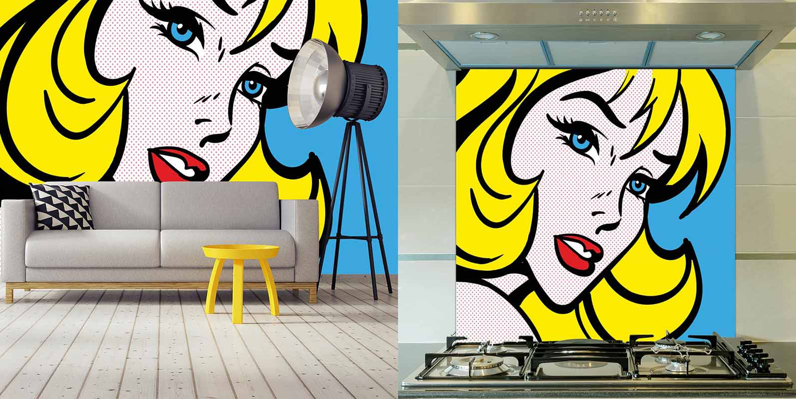 Pop Art Girl 4 retro wallpaper and glass splashback from forthefloorandmore.com