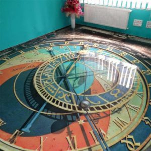 Clock image of a 3d flooring