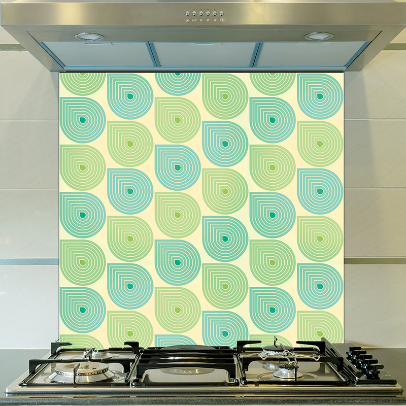 Image of Sommer design. One of many patterns available as coloured glass splashbacks from forthefloorandmore.com