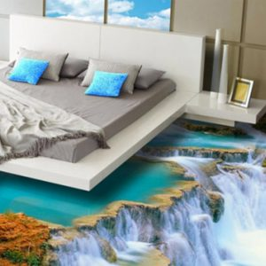 Image of a waterfall 3d vinyl flooring project