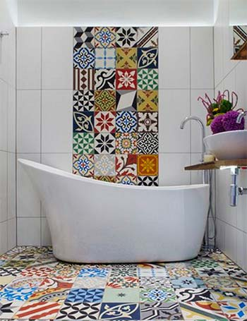 Colourful Bathroom Tiles from Houzz.co.uk used in a blog post about bathroom decor ideas from forthefloorandmore.com