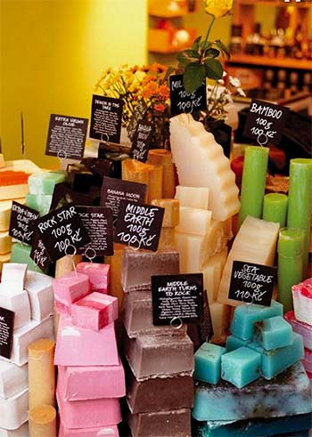 Image of Lush soaps on display from a blogpost by For The Floor and More full of bathroom ideas to brighten your room