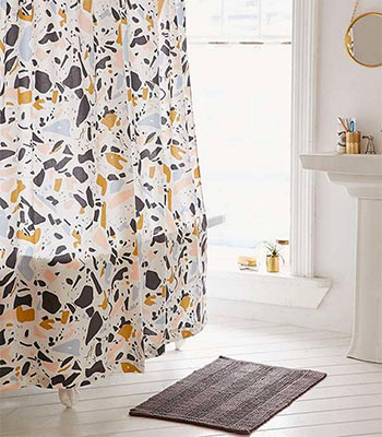 Image of Shower Curtain from Urban Outfitters in a blog post about better bathrooms from forthefloorandmore.com