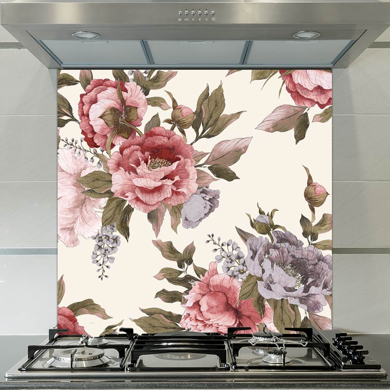 Image of Carin floral patterned glass splashback available from forthefloorandmore.com
