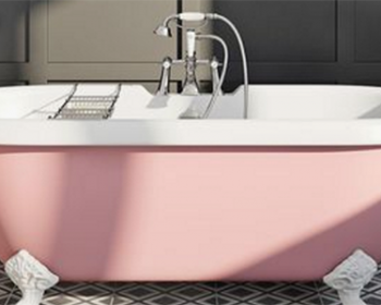 Colourful bath image from VictoriaPlum.com and used in a blog post about cool bathroom ideas from forthefloorandmore.com