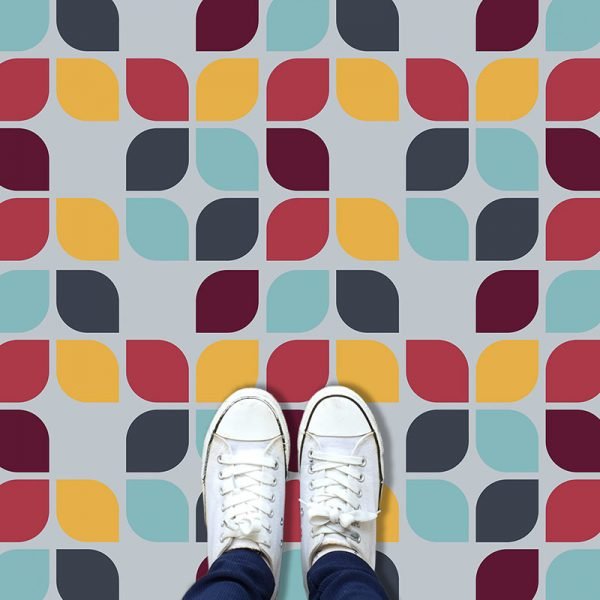 Image of bespoke Kaskad design available as a colourful and vibrant vinyl floorcovering