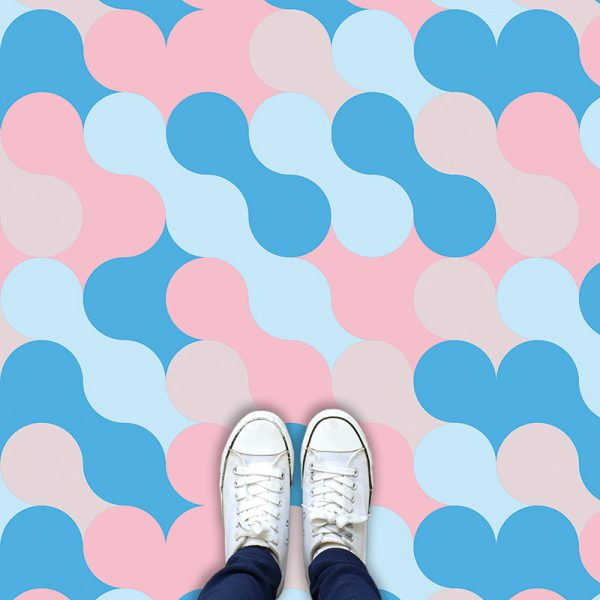 Image of Poppet design as a bright and colourful patterned vinyl flooring from forthefloorandmore.com