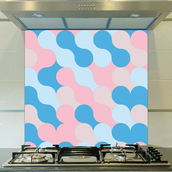 Image of Poppet design as a bright and colourful printed glass splashback from forthefloorandmore.com