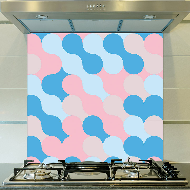 Image of Poppet design as a bright and colourful glass splashback from forthefloorandmore.com