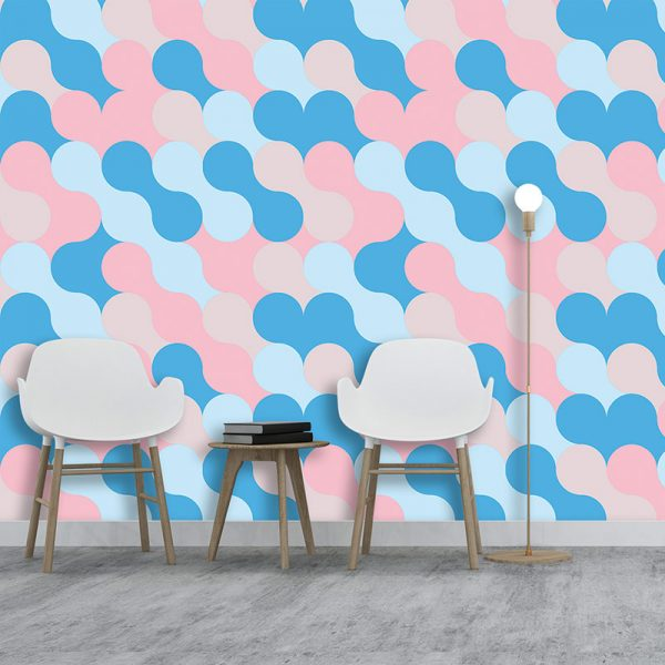 Image of Poppet design as a bright and colourful wallpaper from forthefloorandmore.com