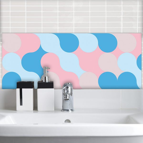 Image of Poppet design as a bright and colourful printed Feature Tile from forthefloorandmore.com