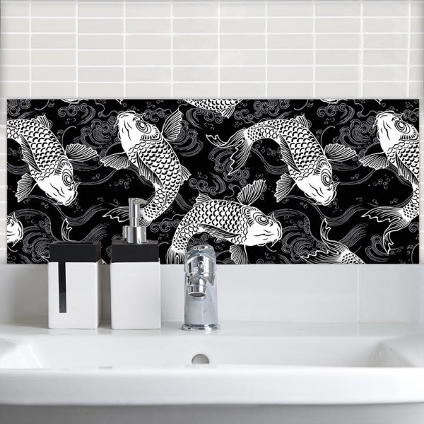 Image of Yori oriental design available as a printed glass Feature Tile from forthefloorandmore.com
