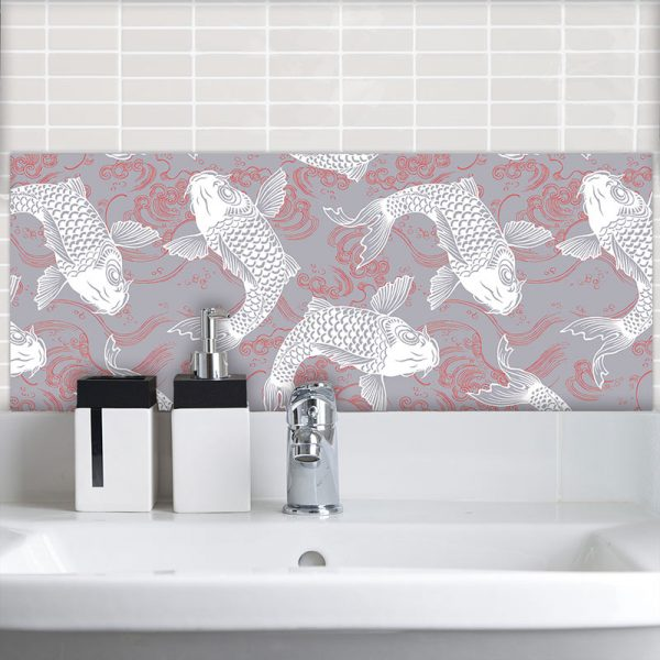 Image of Yumi oriental design available as a printed glass Feature Tile from forthefloorandmore.com