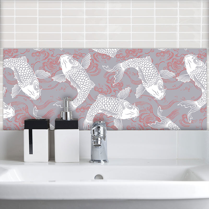 Image of Yumi oriental design available as printed glass Feature wall Tiles from forthefloorandmore.com