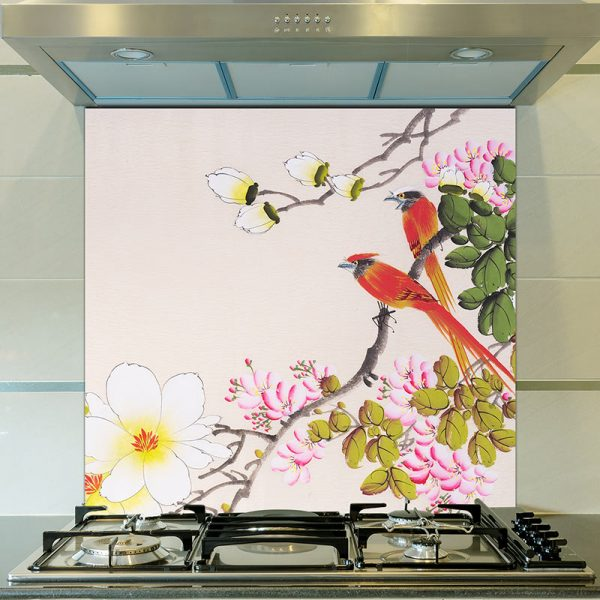 Image of Ayame design as a wonderfully detailed printed glass splashback available from forthefloorandmore.com