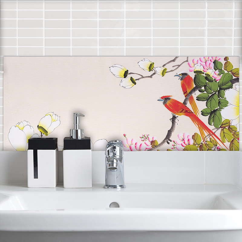 Image of Ayame design as a wonderfully detailed art tile available from forthefloorandmore.com