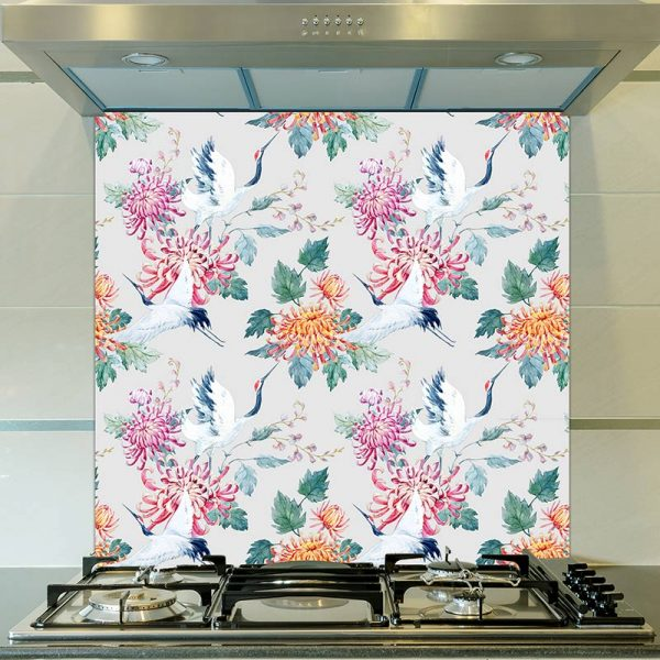 Image of Emiko design as a wonderfully detailed printed glass splashback available from forthefloorandmore.com