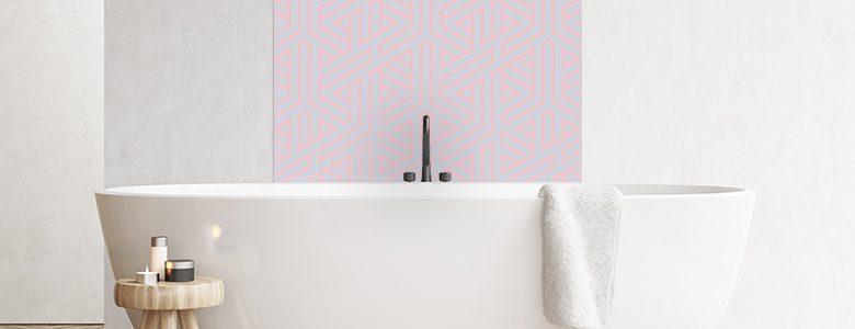 Image of Bathroom splashback panel geometric ombre from forthefloorandmore.com