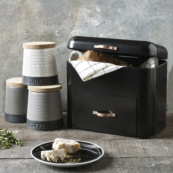 Image of a Next bread bin from their new home accessories range and used in a blog post by forthefloorandmore.com.