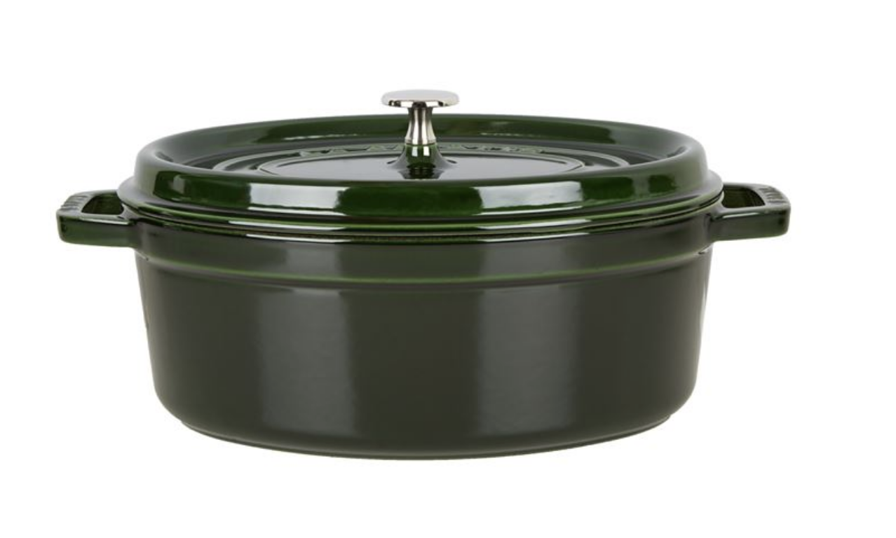 Image of a Staub Green Oval Cocotte available from Harrods and used in a blog post by forthefloorandmore.com